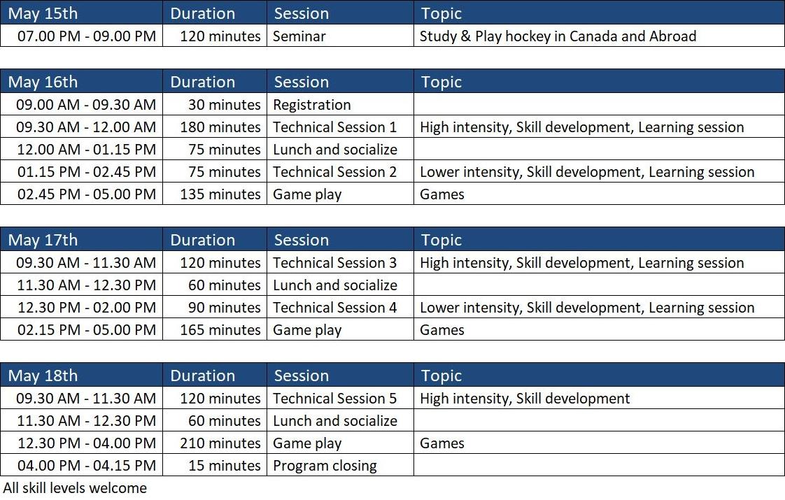 Schedule Vancouver International Field Hockey Development Camp